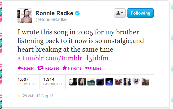 Rest in Peace Anthony James Radke, older brother of Ronnie