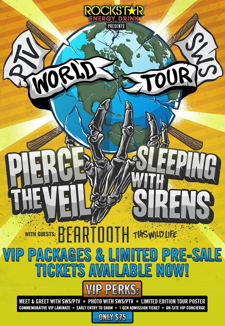 Pierce the veil and sleeping with sirens announce co headlining the pierce the veil and sleeping with sirens announce the world tour a co headlining tour set to start on november 5th in fresno ca at the woodward park m4hsunfo